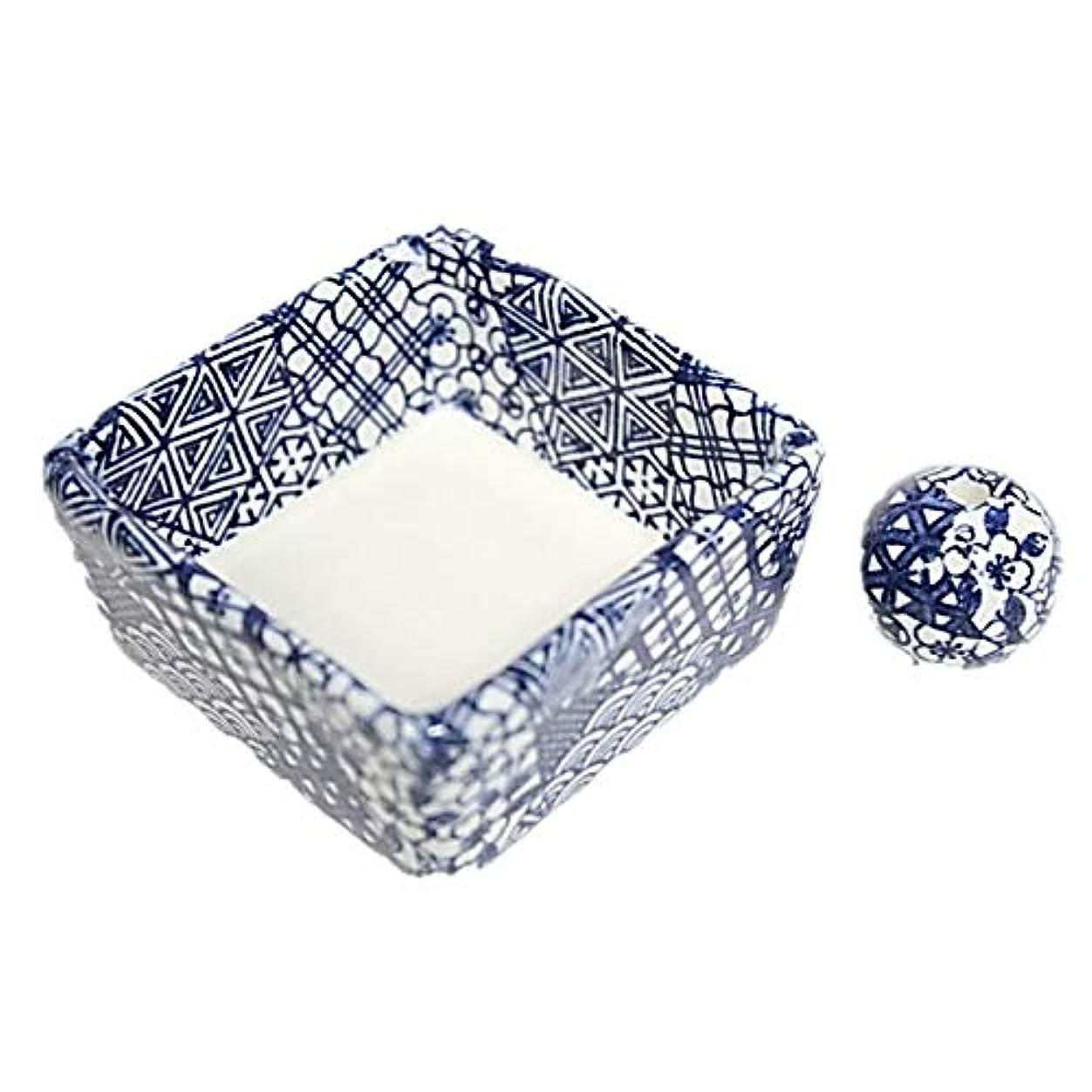 変更可能広い慢な和モダン 五条 お香立て 陶器 角鉢 製造直売品
