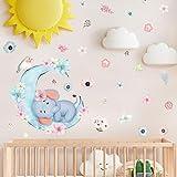 BDECOLL elefante burbujas guardería pared vinilo habitación de los niños soplando burbujas vinilo adhesivo decorativo para pared para la habitación del bebé Decor (blanco)