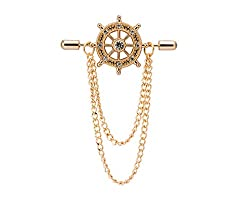 Gold Crystal Ship's Steering Wheel with Chain Brooch