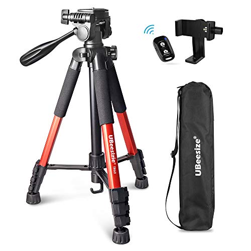 UBeesize 60-inch Camera Tripod, 5kg/11lb Load TR60 Load Portable Lightweight Aluminum Travel Tripod with Carry Bag & Bluetooth Remote, for DSLR Cameras Compatible with iPhone & Android Phone (Orange)