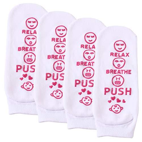 Rehomy Calcetines blancos, antideslizantes para madre para ser relajarse, respirar, estampado de letra