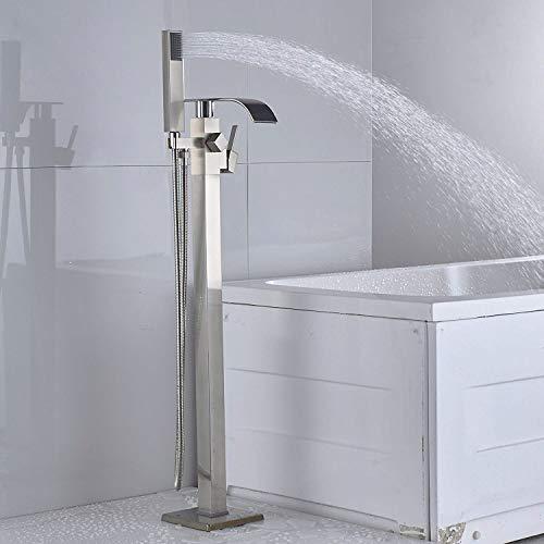 Rozin Nickel gebürstet Freistehende Armatur Badewanne Wasserhahn Drehbarer Auslauf Badewannenarmatur Wannenarmaturen mit Handbrause Standarmatur Armaturen Badezimmerarmatur