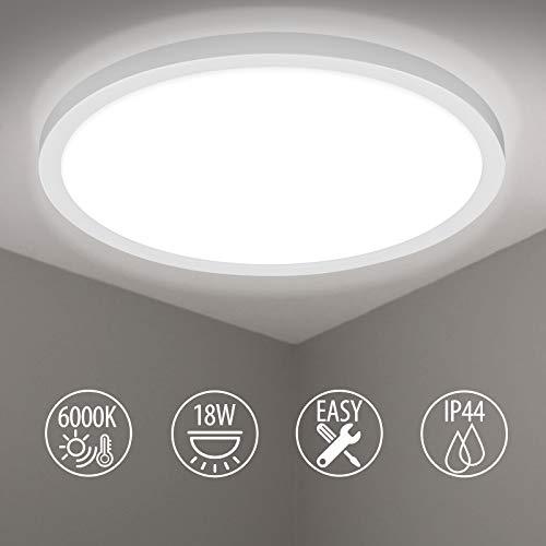 LED Deckenleuchte, BIGHOUSE 18W 1600LM Deckenlampe, 6000K Kaltesweiß für Badezimmer, Wohnzimmer, Balkon, Flur Küche, Ø295×250mm