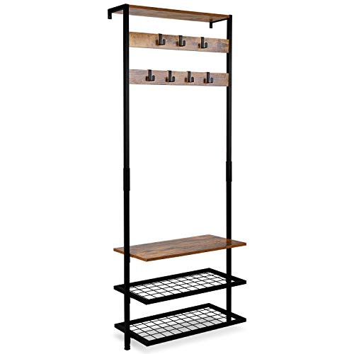 ErgoDesign Hall Tree Entryway Coat Rack Against the Wall Narrow Hall Trees with Shoe Racks Storage Shelf Organizer Accent Furniture with Metal Frame Rustic Brown