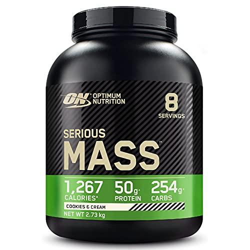 Optimum Nutrition Serious Mass Gainer, Proteine Whey in Polvere per Aumentare la Massa Muscolare con Creatina e Glutammina, Cookies & Cream, 8 Porzioni, 2.73 Kg, il Packaging Potrebbe Variare