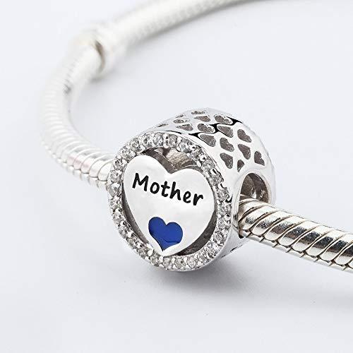 jiao 925 Plata Real Madre e Hijo corazón Encanto Pulsera Brazalete Popular Amor Familia Tema encantos Regalo del día de la Madre