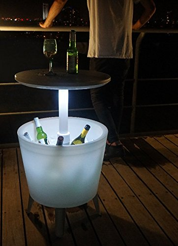 Keter - Mesa nevera para jardín Cool Bar iluminado, Color blanco