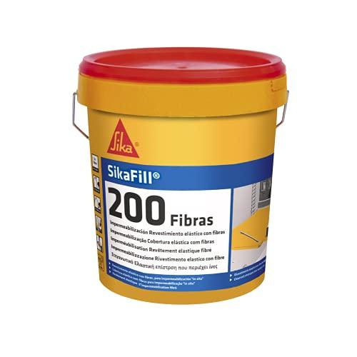 SikaFill 200 Fibras, Negro, Pintura acrílica con fibras de vidrio para impermabilización de cubiertas visitalbles y protección de pareces medianeras, 1kg