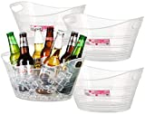 Zilpoo 4 Pack - Plastic Oval Storage Tub, 4.5 Liter Wine, Beer Bottle Drink Cooler, Parties Ice Bucket, Party Beverage Chiller Bin, Baskets, Clear