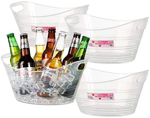 Zilpoo 4 Pack - Plastic Oval Storage Tub, 4.5 Liter Wine, Beer Bottle Drink Cooler, Parties Ice Bucket, Party Beverage Chiller Bin, Baskets, Clear