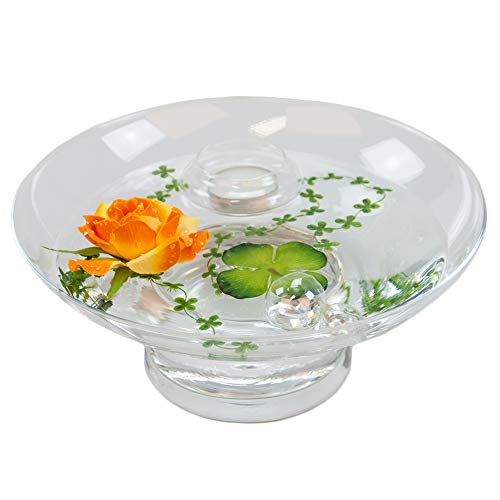 Sandra hollow-hauteur: 10 cm-diamètre: 25 cm, avec décoration rose grand format (orange)