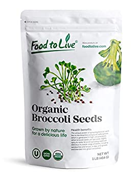 Organic Broccoli Seeds for Sprouting 1 Pound - Non GMO Vegan Kosher Sirtfood Bulk Good Source of Sulforaphane Grow Your Own Sprouts and Microgreens at Home in Jars or Seeds Sprouters Great for Salads and Sandwiches High Germination Rate