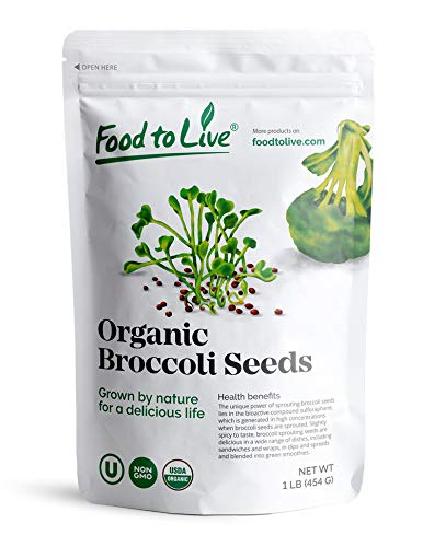 Organic Broccoli Seeds for Sprouting by Food to Live (Non GMO, Kosher, Bulk) — 1 Pound