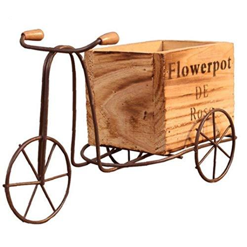 JYKFJ Soporte de Flores para Bicicleta, Modelo de Triciclo de Madera Elegante, Maceta de Hierro...