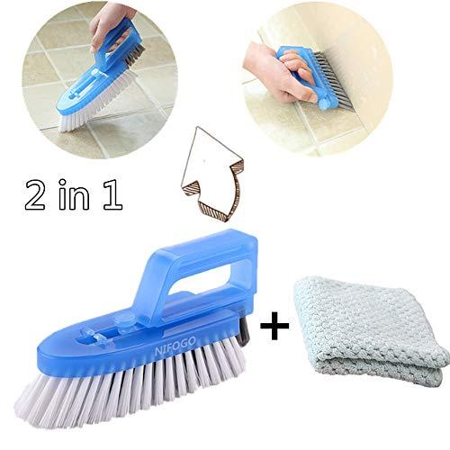 Fugenbürste & Ölfreier Lappen,Reinigt Effektiv Fugenfliesen und Entfernt Schimmel Oberflächlich, für Bad Küche und Haushalt (Blau)