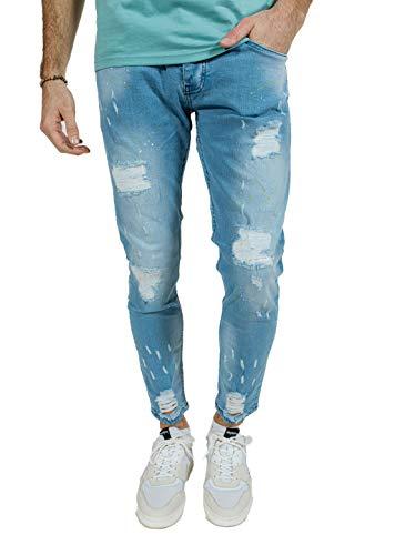 Redskins P21SKIGRA-Skinny Graph Jeans, Bleach Paint Destroy, 36 Homme