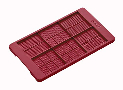 Lurch 83091 Plaquettes de Chocolat Flexiform 120x205mm, Silicone, Rouge Rubis, 20 x 15 x 10 cm
