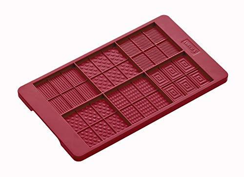 Lurch 83091 FlexiForm Schoko-Täfelchen / Gussform für kleine Schokoladentafeln, ruby