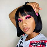 Short bob wig with bangs 100% Human hair none Lace Front Wigs wigs for black women Brazlian Straight Hair Machine Made wigs with bangs bob natural color Human Hair (8inch)