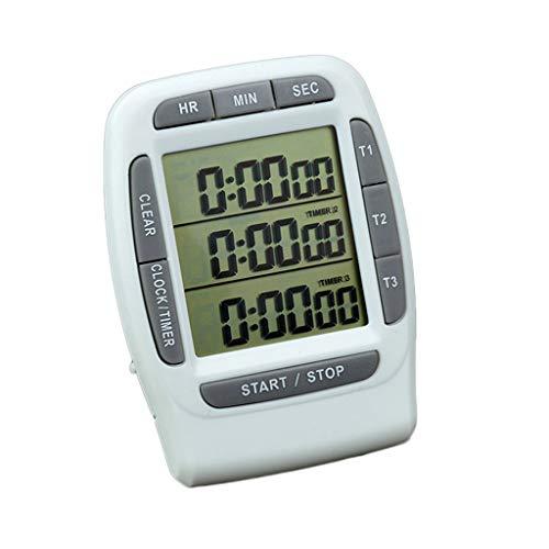 Temporizadores Reloj digital con temporizador de cocina, temporizador de cocina, temporizador de cocina, temporizador de triple canal, alarma sonora, concurso de laboratorio Cocina de belleza Temporiz