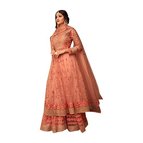 Eid Peach Party Wear Designer Girl Net Embroidered sharara Anarkali Salwar Kameez Suit Comes with a...