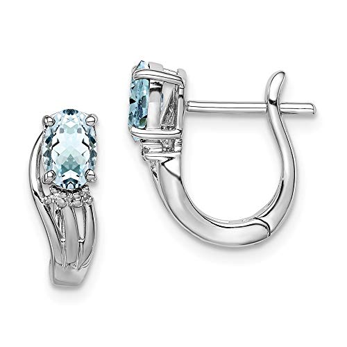 925 Sterling Silver Polished Hinged hoop Rhodium Plated Diamond Aquamarine Hinged Earrings Jewelry Gifts for Women