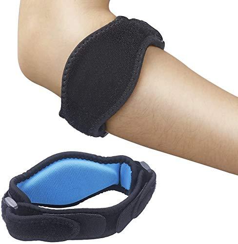 2 x Ellenbogen Bandage Damen und Herren, Sportbandage, elastische Tennisarm und Golferarm Manschette mit Kompressionspolster für Sport, Fitness, Tennis