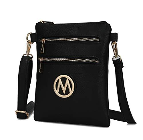 MKF Crossbody Bag for Women – Adjustable Strap – PU Leather Designer Crossover Lady Handbag Small Messenger Purse Black