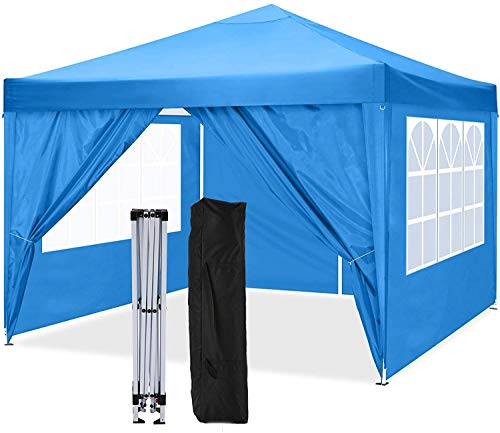 The shelter and The Sunshade shelter and The Gazebo are Fully Waterproof, with a high-Grade pop-up Gazebo in 4 Sides,Blue
