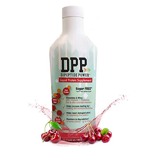 DPP Dipeptide Power Liquid Collagen & Whey Protein Supplement, Sugar-Free, Promotes Healthy Skin & Hair for Men & Women, Cherry, (32 Ounce)