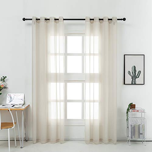 HHD Sheer Curtains Semi Voile Drapes for Bedroom Living Room Grommet Top Window Curtains 54x96 Inches Long, Set of 2 Panles,Linen