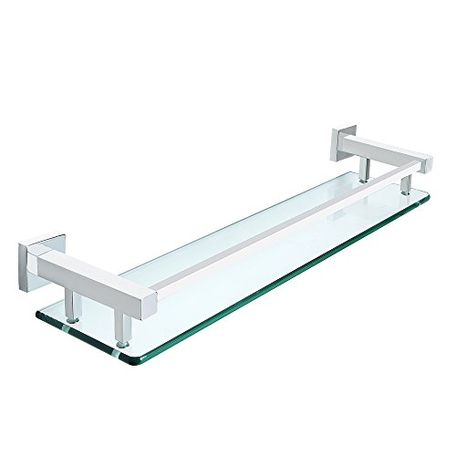 Mensola in vetro temperato lucido trasparente da bagno con fissaggi cromo 60X18X0,8