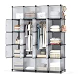Armadio guardaroba con 20 cubi portatile, scaffale portaoggetti con 3 aste sospese per vestiti, scarpe, giocattoli, accessori, 180 x 146 x 46 cm