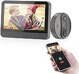 JeaTone Smart Wifi Mirilla electrónica digital puerta blindada con sensor de movimiento y LCD de 4,3 pulgadas / AHD...