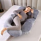 Oreiller de grossesse, grand oreiller de maternité de 180 cm pour femmes enceintes et adultes avec coussin de taille supplémentaire, oreiller de corps entier amovible en forme de H, J, C et U