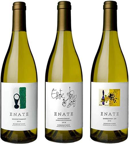 ENATE Estuche de Vinos Blancos - ENATE Gewürztraminer, añada 2020 - ENATE Chardonnay fermentado en barrica, añada 2019 - ENATE Chardonnay - 234, añada 2019 - Paquete de 3 Botellas - 75cl