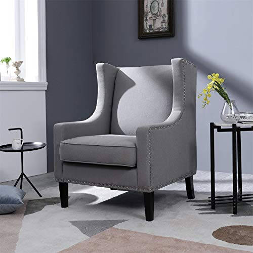 Top Space Accent Chair Living Room Chairs Arm Chair Single Sofa Upholstered Gray Comfy Fabric Mid-Century Modern Furniture for Bedroom Office (1PCS-2, Gray)