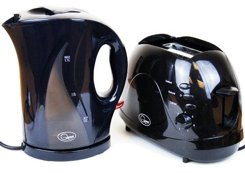 Electric Cordless Jug Kettle and 2 Slice Toaster Kitchen Set in Gloss Black, Red or White (Black)