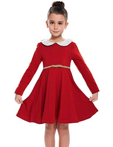 Kleid Mädchen Langarm Puppenkragen Baumwolle Langarmkleid Kinder Herbst Skaterkleid A-Linie Swing Prinzessin Freizeit Kleid Kleinkind einfarbig, Rot, 130 / 8-9 Jahre