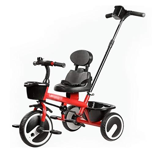 Bicicletas Triciclos Triciclo For Niños 2-3-5-6 Años Bebé Estática Interior Plegable Niño Portátil (Color : Red, Size : 70x48x58cm)