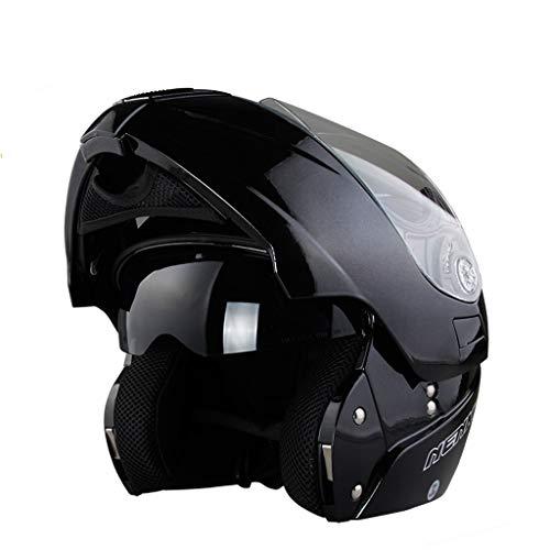 NJ Helm, uniseks gezichtshelm, regen- en uv-beschermhelm, dubbele schijf X-Large mat zwart