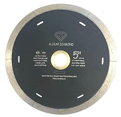 Alskar Diamond J-Slot 5 inch Dry/Wet Diamond Blade with Slots for Cutting of Porcelain and Ceramic Tile (5