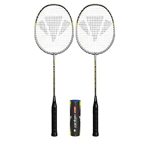 DUNLOP Carlton Aeroblade Badmintonschläger x 2 + 6 Federbälle (verschiedene Modelle erhältlich) (Aeroblade grau 4000x2)