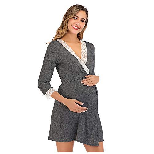 Vuncio Vestido de maternidad para mujer, de algodón, con borde de encaje, de manga larga, camisón de lactancia, para mujeres embarazadas, otoño e invierno gris oscuro XXL