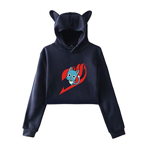 MLX-BUMU Fairy Tail Stampa Felpe con Cappuccio da Donna Kawaii Felpe con Cappuccio Felpa Vestiti Taglie Forti,XL