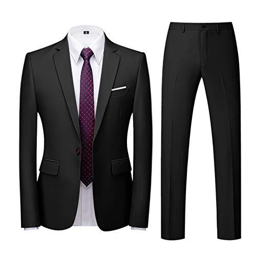 Xmiral Abito Uomo Elegante Completo Slim Fit 2 Pezzi Blazer Uomini Pantaloni + Giacca (3XL,2nero)