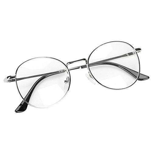 IBLUELOVER Brille Metallrahmen Unisex Brillengestelle Retro 60 er Fensterglas Damen Herren Brillefassung Runde Pantobrille mit Nasenpad Leicht Nerdbrille Ohne Sehstärke Streberbrille Ebenenspiegel