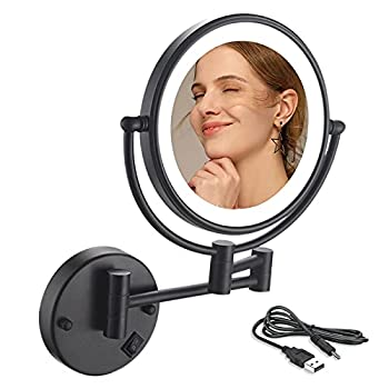 Wall Mount Vanity Mirror  Extendable Bathroom Mirror,LED Lighted Wall Mount Makeup Mirror with 10x Magnification Bathroom Magnifying Mirror 8 Inch Double-Sided 360° Swivel  USB Rechargeable