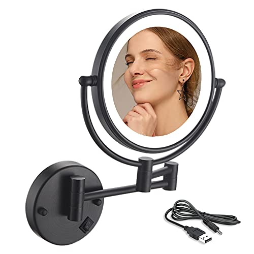 Wall Mount Makeup Mirror, 10X Magnifying Two Side LED Lighted Vanity Mirror for Bathroom, 360° Rotatable, USB Rechargeable and 12 Inch Extendable Arm, with Matte Black Finish
