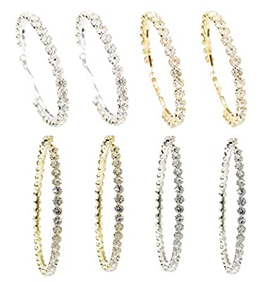 Crystal Hoop Earrings for Women Set Gold Silver Pack Rhinestone Hypoallergenic Big Circle Rounded Huggie Earring Fashion Jewelry (2.8 in 2pairs + 3.8 in 2 pairs)